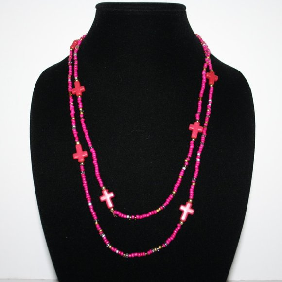"""Beautiful pink and gold beaded cross necklace 48"""""""